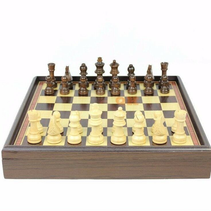 Wooden Chess Board Table Folding Box Game Vintage Natural Chessmen Pieces Set