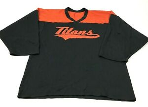 VINTAGE CCM Titans Hockey Jersey Size Extra Large XL Adult Black Orange Baggy