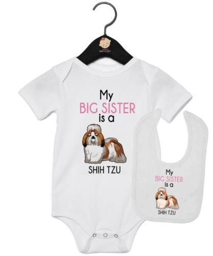 My Big Sister is Shih Tzu Vest And Bib Gift Set Shih Tzu Baby Gift Set