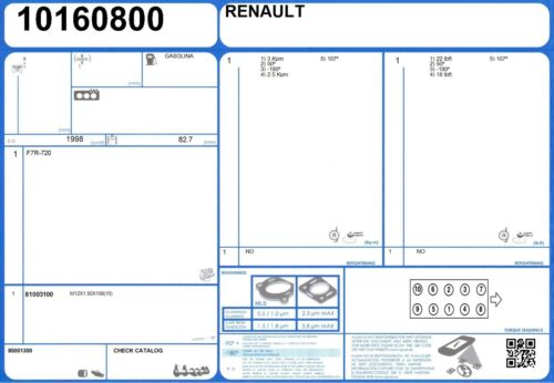 1993-1995 Cylinder Head Bolt Set Renault Clio Williams 16 V 2.0 150 F7R-700