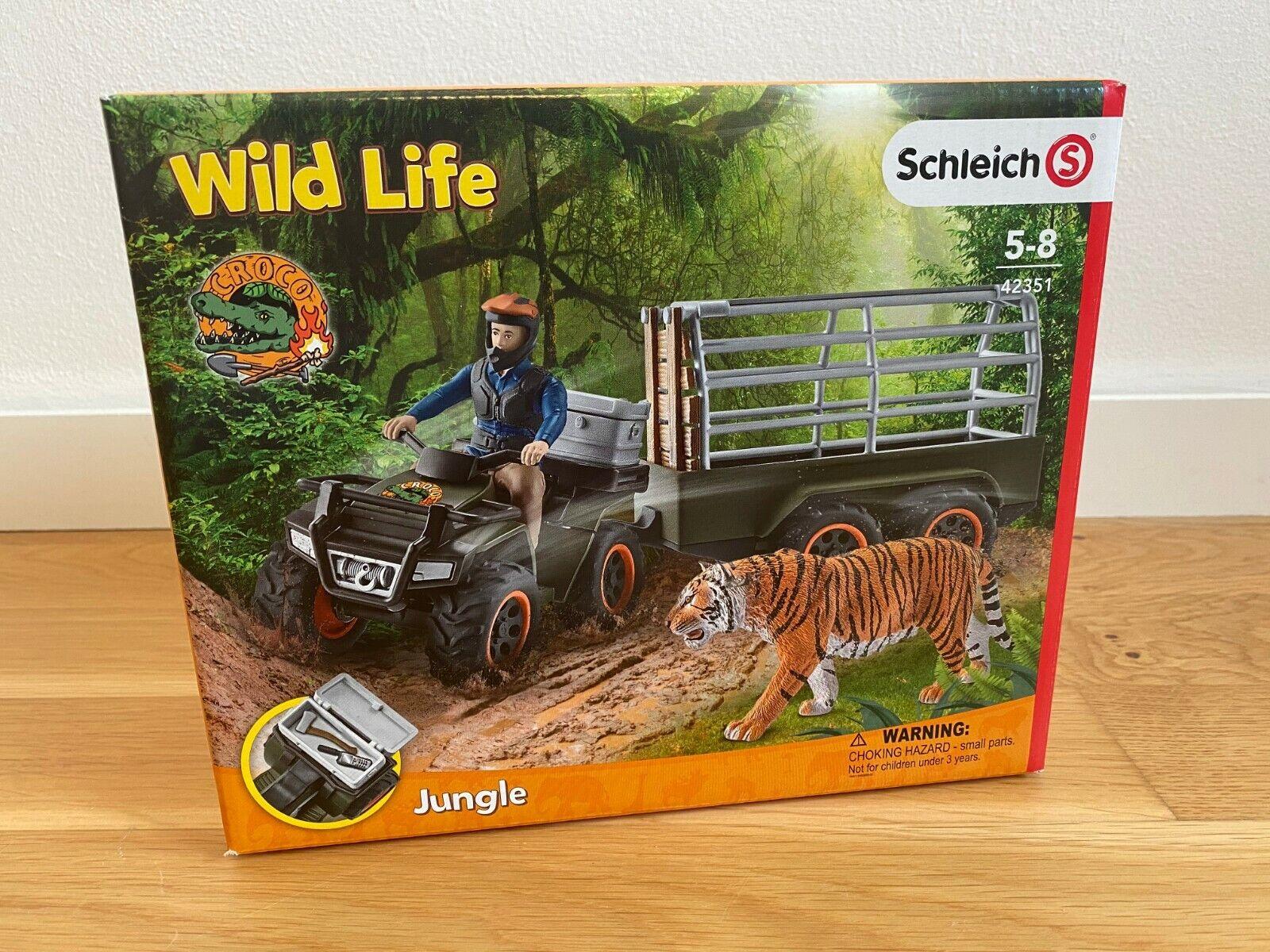 Schleich Wild Life Quad mit Anhänger und Ranger Tiger Safari 42351