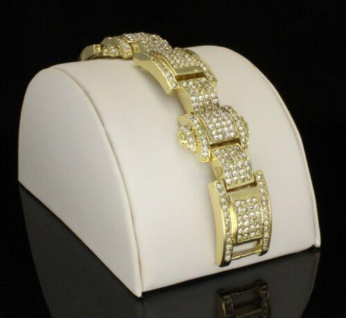 environ 21.59 cm Men/'s Chunky Icy CZ Bracelet 14k plaqué or rappeur Luxe hip hop 8.5 in