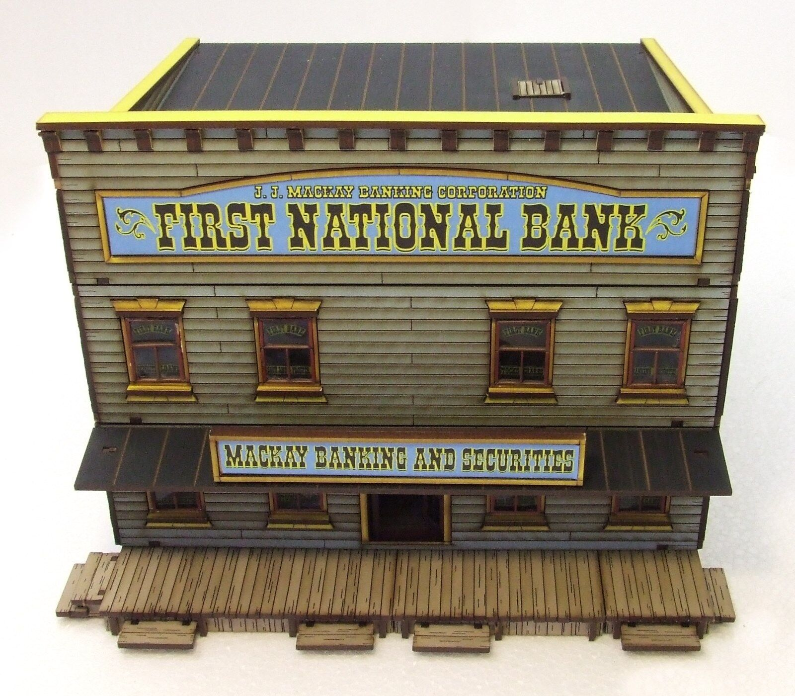 FIRST NATIONAL BANK  - FULLY BUILT BUILT BUILT (as seen)  28mm WILD WEST   ACW  MDF BUILDING 13b19c