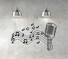 Microphone Mic Music Musical Notes Art Words Wall Sticker Home Decor Decal