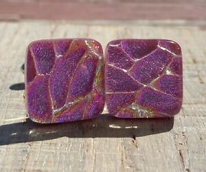 Cuff Links with Handmade White Multi color Fused Dichroic Glass Bead FREE Shipping