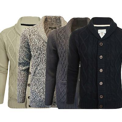Mens Plain Ex-Chain Store Textured Button Up Shawl Neck Thick Knitted Cardigan