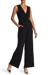 Calvin-Klein-NWT-Modern-BLACK-Embellished-Beaded-Surplice-Jumpsuit-2-4-6-10-12