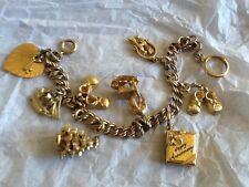 vintage double link charm bracelet 9 charms romance 12 kt Gold Filled Danecraft