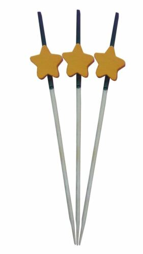 Pack of 100 9CM Wooden Disposable Toothpicks with Orange Star