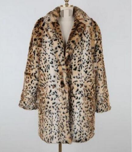 Womans Fur Mid Trench Collar Leopard Lapel Outwear Parka H Long Rabbit Plus Size gdTwxTqYn