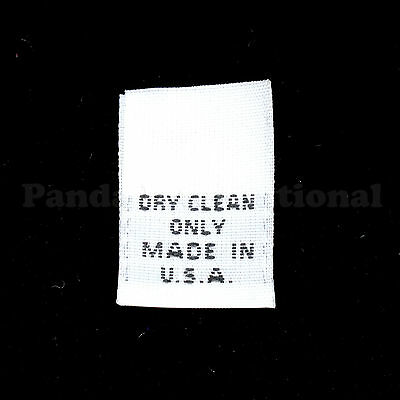 1000 pcs WOVEN GARMENT SEWING SIZE 2 LABELS in White w Black Letter Ship@US