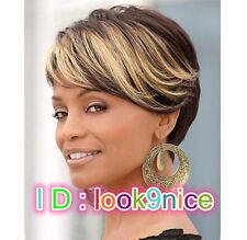 Fashion sexy short women ladies girls golden bangs oblique streaked wig +wig cap