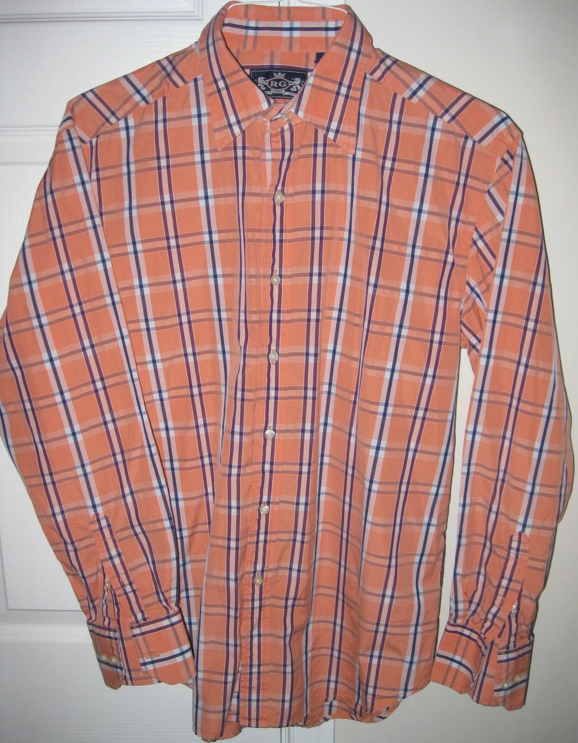 Robert Graham R&G orange Plaid Mens Shirt Size Large