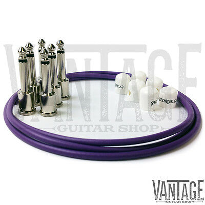 .155 Nickel R//A Plugs George L/'s Purple /& White Pedalboard Effects Cable Kit
