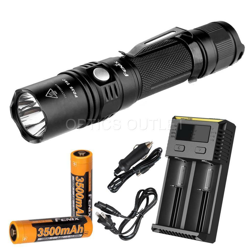 Fenix PD35 TAC 1000 Lumen Rechargeable Tactical Flashlight w Batteries & Charger