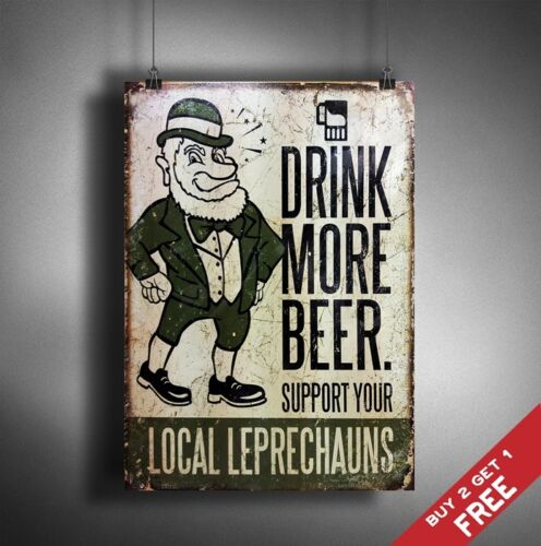 A3 DRINK MORE BEER  Retro Vintage Sign Poster Print PUB BAR DECOR SUPPORT LOCAL