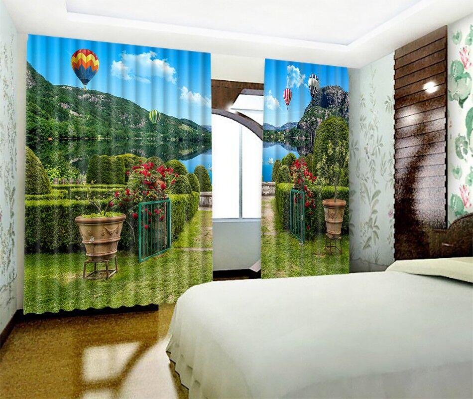 3D Garden Lake 75 Blockout Photo Curtain Print Curtains Drapes Fabric Window AU