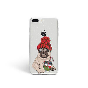 Details about Cute Pug iPhone 11 XR Cover Christmas iPhone 12 XS SE Cover Winter Gift Holiday