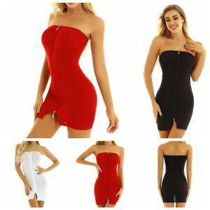 Womens PU Zipper Bodycon Sleeveless Evening Party Cocktail Club Short Mini Dress