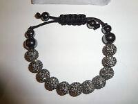 Idl 11 Black Diamond Crystal Bead Hematite Bracelet Free P+p