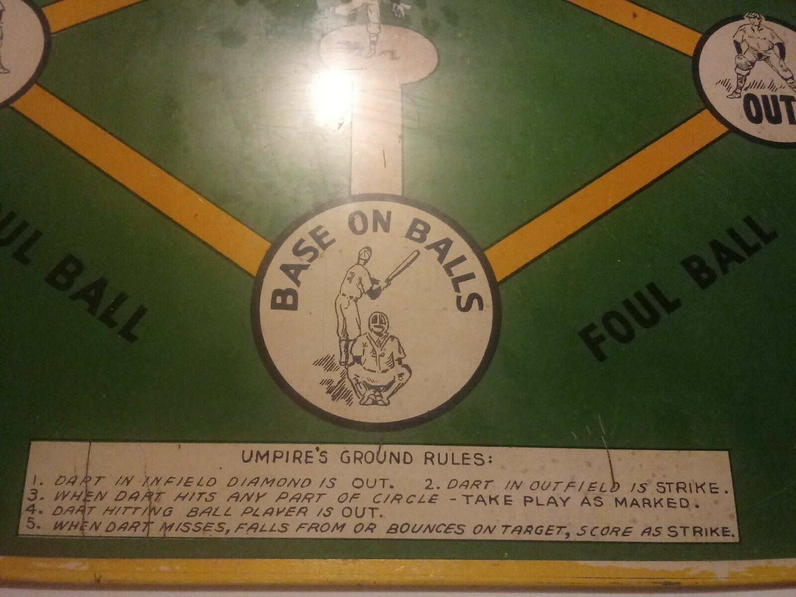 Vintage Safe T Dart Electro Metal Metal Metal Dart Board & Big League Baseball Game - 1950's 28887c