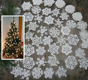 """30 Hand Crochet  Wht Christmas Snowflakes Motifs Doilies Ornaments 3"""" Cotton"""