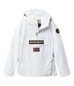 Giubbotto NAPAPIJRI da uomo bianco con cappuccio e tasca canguro giacca con zip