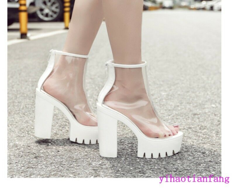 Fashion Clear Open Toe Platform High Wedge heels sandals Nightclub Zip shoes new