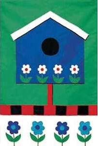 Details about Toland House Flag Blue Birdhouse Flowers Applique Standard  Size Garden