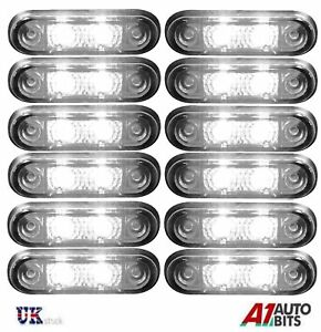 12x-24v-Flush-Fit-White-Led-Front-Side-Marker-Lamps-Lights-Truck-Van-Kelsa-Bar