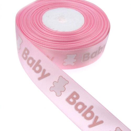 10//20 impression Bear Baby ruban satin rubans d/'emballage Gender Reveal Fête Deco