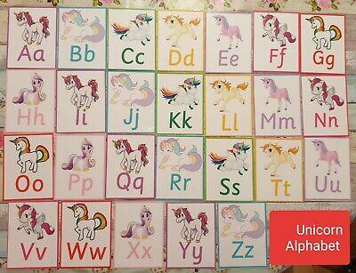 Appena Unicorn-alfabeto-lettere-a - Z-minuscolo Capitali-eyfs-iniziare La Scuola-sen-mostra Il Titolo Originale