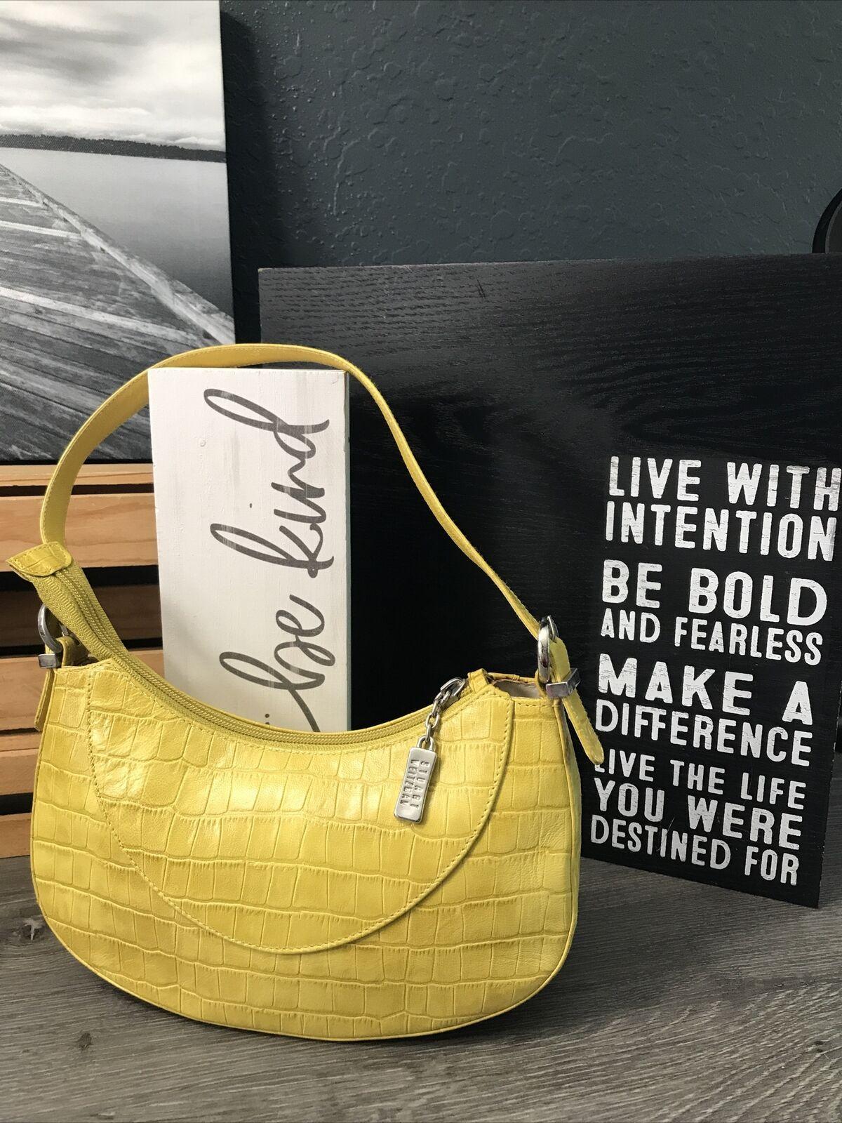 STUART WEITZMAN Yellow Animal Print Leather Lined Logo Zip Shoulder Handbag EUC