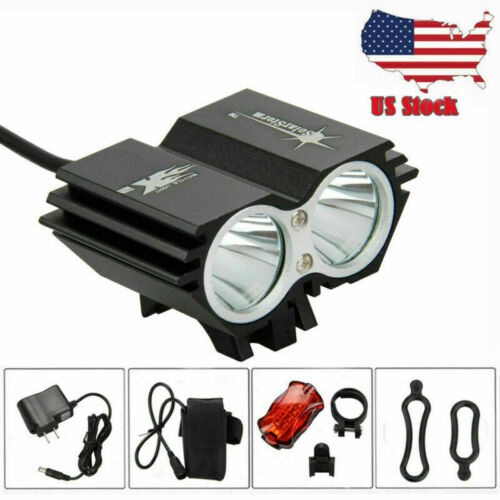 12000Lm LED Bike Lamp Front Rear Light Rechargeable Cycling Bicycle Light Set US