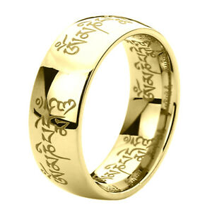 Image Is Loading 8mm Anium Mens Womens Rings Tibetan Mantra Om