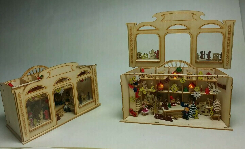 Bastelset Christmas Shop 1 zu 144 mit 70 XMAS Minis  L ca.  9 cm mit Beleuchtung
