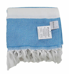 Teal Blue And White Thin Turkish Bath Sheet Diamond Weave Bath
