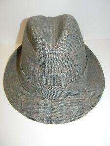 Vintage-Dobbs-Fifth-Avenue-New-York-Wool-Tweed-Fedora-Hat-Gray-Mens-Size-7-1-4