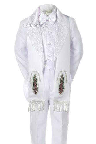 6PC BABY TODDLER BOY WEDDING FORMAL PAISLEY TAIL TUXEDO STOLE WHITE S-7 0M-7yr