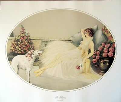 art print~IN REPOSE~Courcelles Woman deco Lady w/Borzoi roses vtg rep oval 24x20