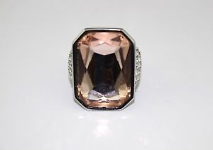 49-ANN-TAYLOR-Pink-Crystal-Rhinestone-Silver-Tone-Cocktail-Statement-Ring-8-New