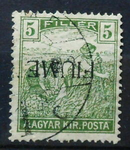 ITALY-FIUME-OVERPRINTED-HUNGARIAN-STAMP-INVERTED-OVERPRINT-1919-MI-10-USED