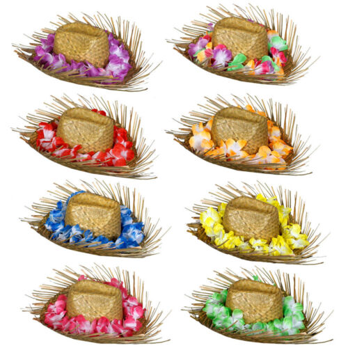 STRAW BEACHCOMBER HAT WITH ATTACHED FLOWER LEI HAWAIIAN FANCY DRESS OUTFIT
