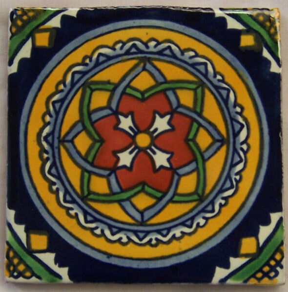 C119- Mexican Handmade Talavera Clay Tile Folk Art 4x4