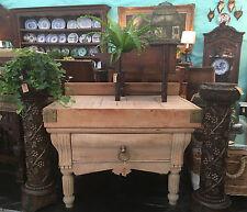Antique French Wood Kitchen Butcher Block Island Farm Table w Brass