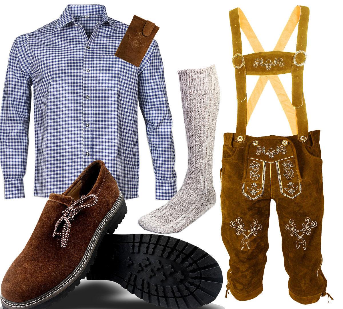 brown Pantalon Cuir Ensemble Folk Bavarois Costume Folklorique Chemise