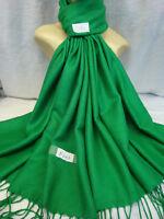 Plain Solid Pashmina Cashmere Scarf Shawl Wrap Stole Color Irish Green