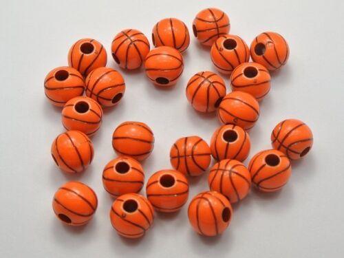 100 Orange with Black Basket Ball Pattern Acrylic Round Beads 12mm Funny Beads
