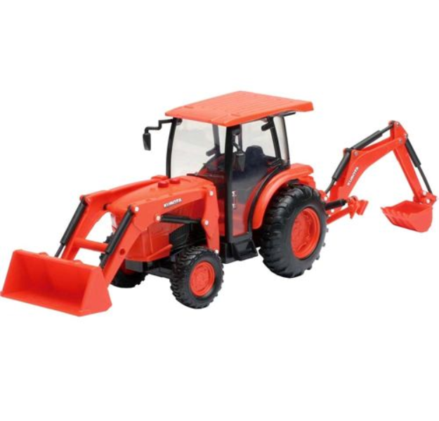 Kids Toy Kubota Tractor with Loader And Backhoe Rubber tires rotate 1 18 Scale