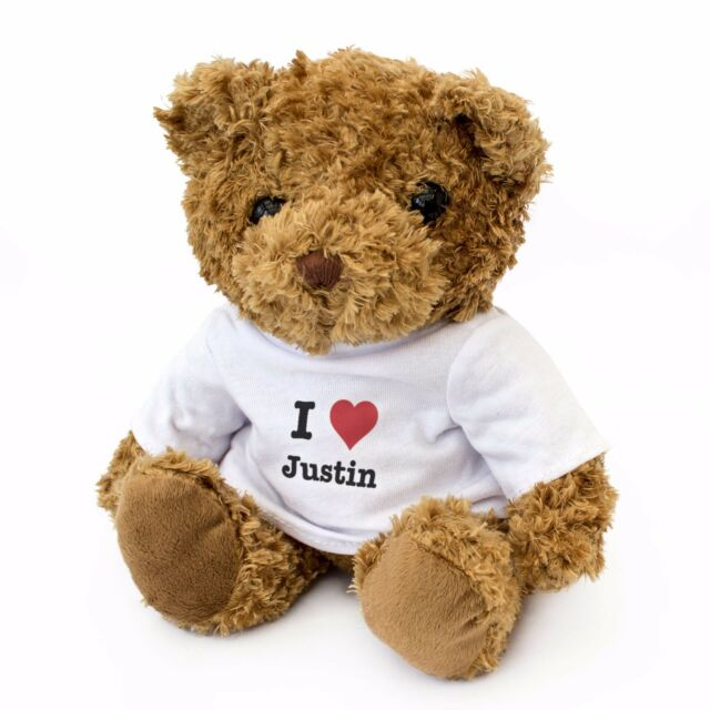 NEW - I LOVE JUSTIN - Teddy Bear Cute Cuddly - Gift Present Birthday Valentine